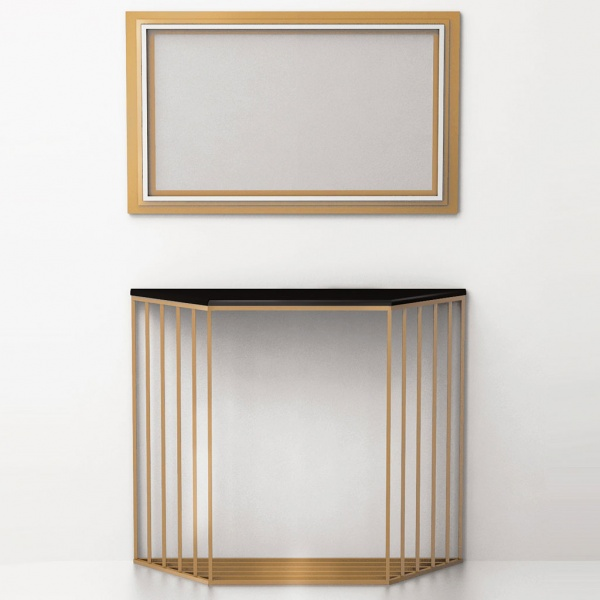 Console table Grille (brass, stainless steel) CA 06