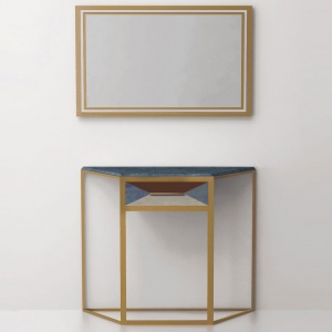 Console table with one drawer CA01 (brass, stainless steel)