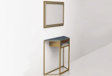 Console table in brass with one drawer (side view)