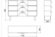 Dimensions of a cantilever table made of metal with three drawers (CA 02-1)