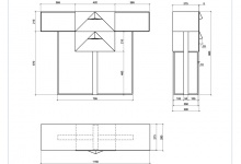 Dimensions of a cantilever table made of metal with two drawers (CA 02)