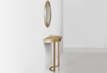 """Console table """"Chord"""" made of brass, side view (CA 04)"""