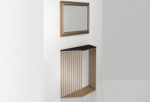 """Console table """"Rays"""", side view (brass, stainless steel) CA 06"""