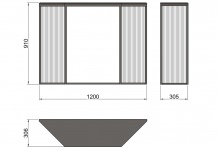 Drawing of console table Grille from metal, CA 06