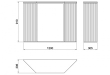 Scheme with the dimensions of the console table Grille made of metal, CA 06