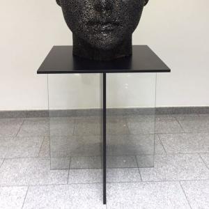 Pedestal Black and White (aluminum, brass)